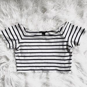 Forever 21 Navy Blue & White Striped Crop Top